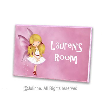 Angel fairy initial door hanger personalized children name pink door sign for girls room or nursery