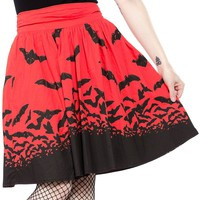SOURPUSS SPOOKSVILLE BATS SWING SKIRT RED