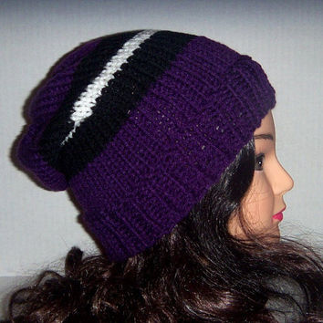 Knit striped hat purple, black and white, Spring accessories, Womans Hat