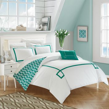 Chic Home 4-Piece Xanti Contemporary Greek Key Embroidered REVERSIBLE Queen Duvet Cover Set Aqua Shams and Decorative Pillows included Blue