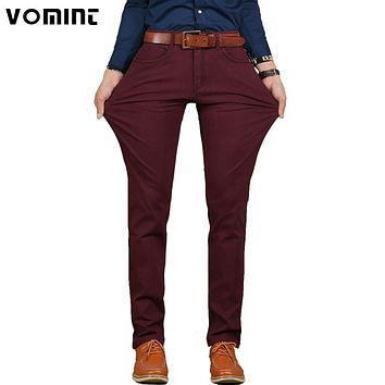 New Men Casual Pant High Stretch Elastic Fabric Skinny Slim Cutting Trouser Pocket Badge