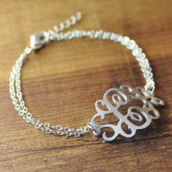 Personalized monogram bracelet custom alloy by LoveHandmadeJewelry