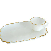 Vintage Milk Glass Snack Trays with Matching Cups - Scalloped Design and 22KT Gold Trim - Three Sets Included