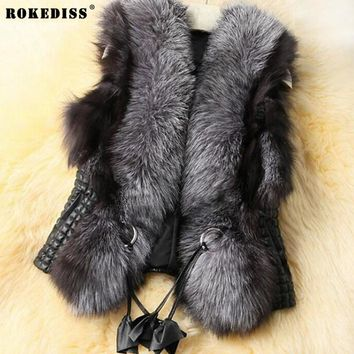ROKEDISS Brand Fur Vest Women Faux Fox Fur Vest Winter Furry Shaggy Woman Fake Fur Vest Fashion Plus Size Fur Vests High Quality