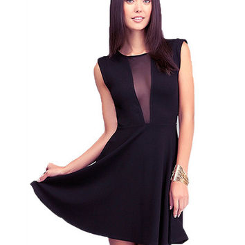 Black Sleeveless Mesh Skater Dress