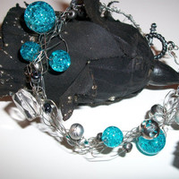 Beautiful wire crocheted bracelet with beads