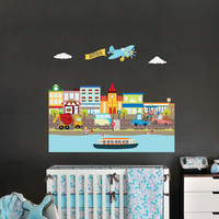 CARS, PLANE and CITY-Large City decal for boy's room decor - Reusable fabric decal-Nursery wall decals for boys - 43