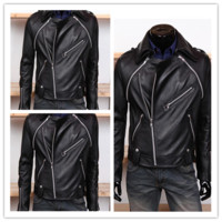 Men's Fashion Detachable Sleeves Motorcycle Leather Jackets