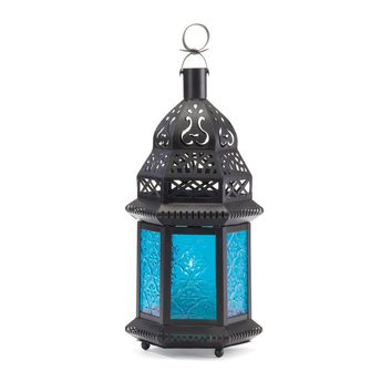 Iron And Blue Glass Moroccan Style Candle Holder Lantern