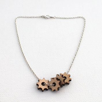 Valentines Day Etsy Fourth Gear Necklace - Laser Cut Wooden Gears and Silver Chain Necklace Modern Industrial Jewelry For Him For Her