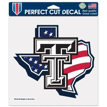 "TEXAS TECH RED RAIDERS TEXAS FLAG LOGO 8""X8"" COLOR DIE CUT DECAL NEW WINCRAFT"