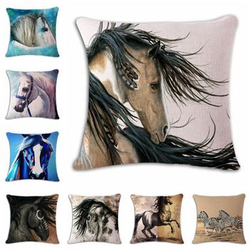 18'' Square Horse Printed Cushion Cover Vintage Cotton Linen Square Pillow Cover Knitted Cushion Covers Customized Drop Shipping