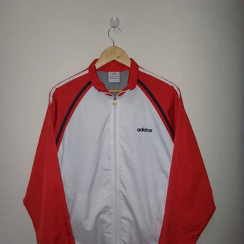 15% OFF Sale Rare ADIDAS Windbreaker Jacket White And Red Sleeve Adidas Tracksuit Long Sleeves Adidas UK 38/40 Running Zip Up
