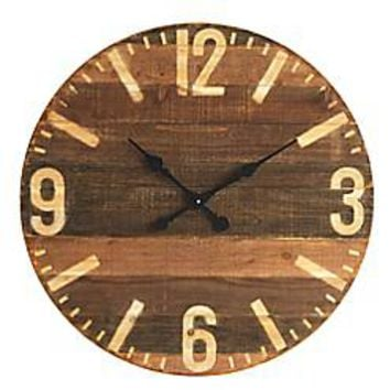 39-Inch Round Wood Wall Clock in Brown
