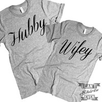 Wifey Hubby T Shirts. Wedding. Tee.