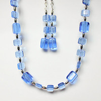 Blue and silver glass bead necklace and drop earring set, Translucent blue cube jewellery set, Statement necklace, UK seller