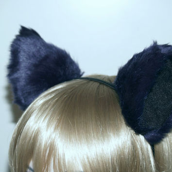 Lolita Headband Cat Wolf Ears Navy Blue Black Kitty Hair Clips Soft Fur Cosplay Costume Halloween Gothic Dog Ear Gothic Dress Up Necomimi
