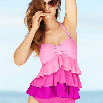 Island Escape Ombre Tiered-Ruffle Tankini Top & Solid Bikini Bottom