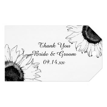 Black and White Sunflowers Wedding Favor Tags