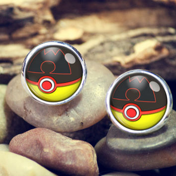 team magma ball pokeball, pokemon earrings, pokeball earrings,earrings, anime,silver ear studs, stud earrings,12mm earrings