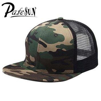Trendy Winter Jacket Top Sell Blank mesh camo Snapback Hats Women Baseball Caps camouflage hip hop mens Casquettes bboy gorras bones Solid color AT_92_12