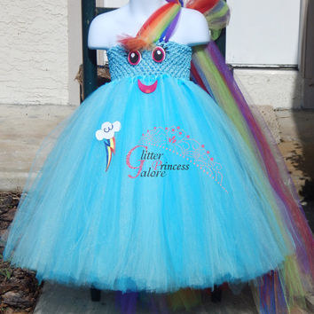Rainbow Dash Inspired My Little Pony tutu Halloween Costume For Girls and adult women