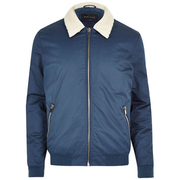 Borg Collar Navy Jacket