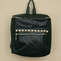 Large studded vegan leather backpack available in black and cream | shopcuffs.com