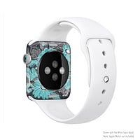 The Bright Blue Accented Flower Illustration Full Body Skin Set for the Apple Watch