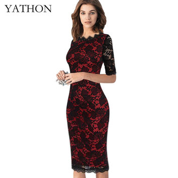 YATHON Womens Chic Lace Hollow Out Print Flower Patchwork Formal Occasion Club Party Dresses Fashion Elegant Casual Pencil Dress