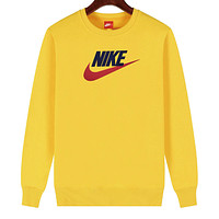NIKE 2019 new cotton men and women models wild sets of round neck long-sleeved sweater Yellow