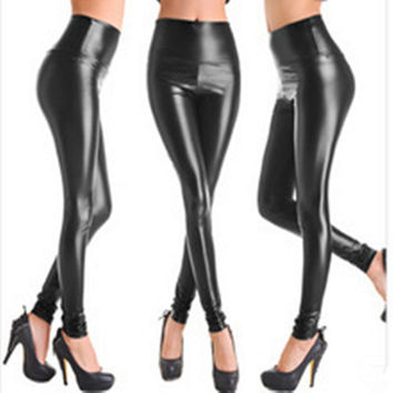 2016 New Women Faux Leather Legging Fashion High-waist Stretch Material Pencil Pants Black Footless Leggings S/M/L/XL LG-108
