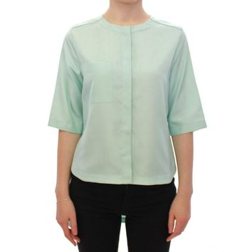 Green silk button down shirt