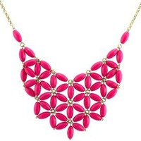 Chunky Cluster Party Statement Necklace - Hot Pink (Jcn20)