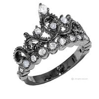 Jewels Obsession Sterling Silver Crown Ring / Princess Ring (Black Rhodium Plated)