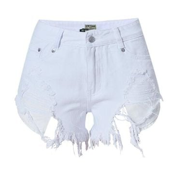 Hot Sale Pure White High Waist Slim Irregular Pocket Holes Denim Shorts