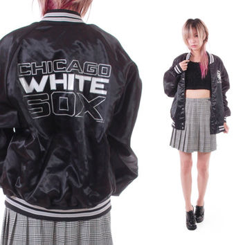 1992 White Sox Silky Satin Bomber Jacket Chicago 90s Vintage Sports Collectors Item Slouchy Sport Goth Athletic Unisex Clothing Small Medium