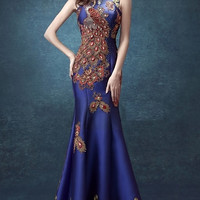 Sequin Lace Mermaid Qipao Phoenix Gown