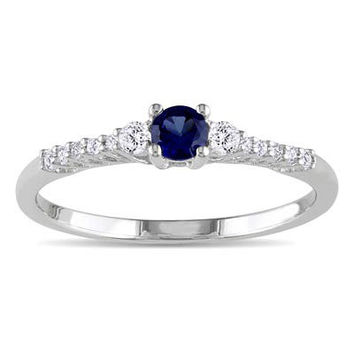 Lab-Created Blue and White Sapphire Promise Ring in Sterling Silver with Diamond Accents - View All Rings - Zales