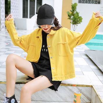 Harajuku Jackets Ripped Drop Shoulder Women Denim Jackets 2018 Fall Oversize Yellow Casual Female Jacket Coat Chic Jacket Girls