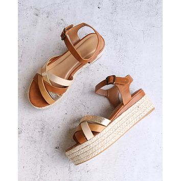 Criss Cross Strappy Band Espadrilles Platform Sandal with Ankle Strap - Tan Multi