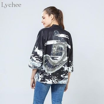 Lychee Vintage Summer Women Cardigan Dragon Waves Printed Chiffon Sun Protection Kimono Shirt Outerwear