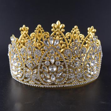 Snuoy Big Full Pageant Crowns Rhinestone Tiara Queen Crown Birthday Pageant Wedding  Crowns