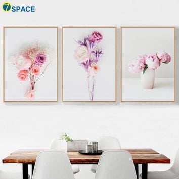 Rose Peony Flower Nordic Posters And Prints Wall Art Canvas Painting Pop Art Canvas Poster Wall Pictures For Living Room Decor
