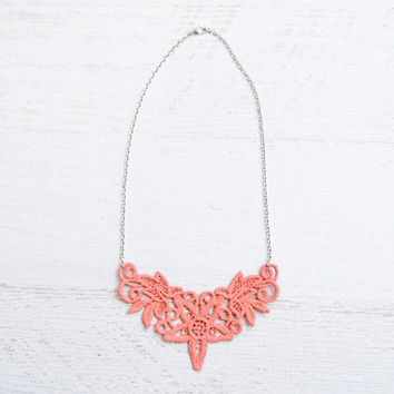 Lace Necklace - Marianela in Coral - Pink Collar Necklace - Orange Bridal Jewelry