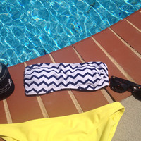 Monogrammed Navy Chevron Bathing Suit Bandeau Top