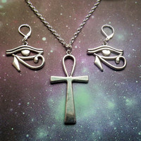 Ankh and Eye of Ra necklace and earrings set