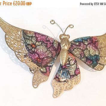 Butterfly Brooch, Gold Filigree, Pink, Blue, Vintage Jewelry, CHRISTMAS SALE