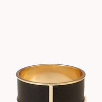 FOREVER 21 Sleek Faux Leather Bangle Black/Gold One
