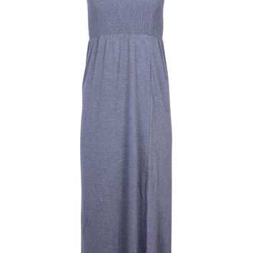 Comfy Strapless Casual Banded Elastic Stretch Flared Maxi Dress